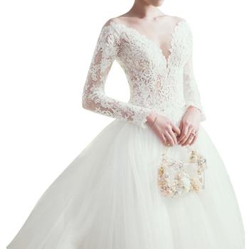 2018 Haute Couture A-Line Full Sleeve Wedding Dress Illusion Top Bridal Gowns Sexy V-Neck Big Train vestidos de noiva Wedding Dresses