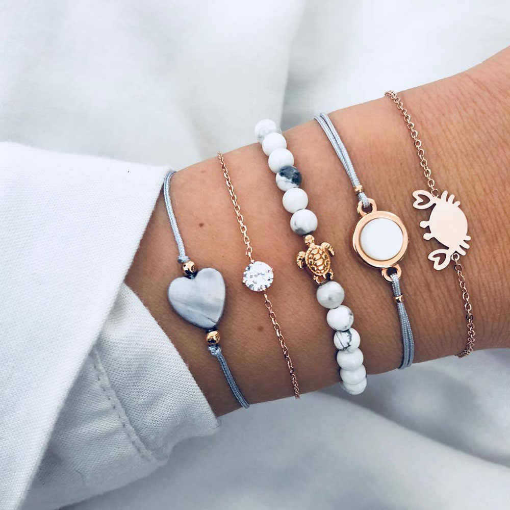 Vienkim 5Pcs/lot Bohemian Heart Crab Turtle Charm Bracelets Set Bangles For Women Multilayer Crystal Beads Chain Bracelet Gift