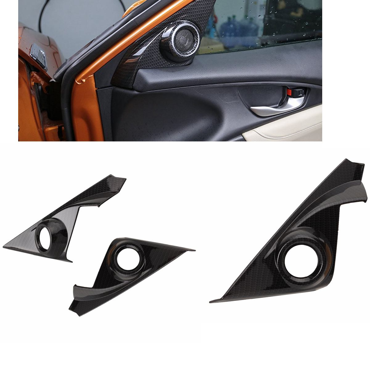 Carbon Fiber Style Rear Water Cup Panel Frame Trim For Honda Civic 2016-2017