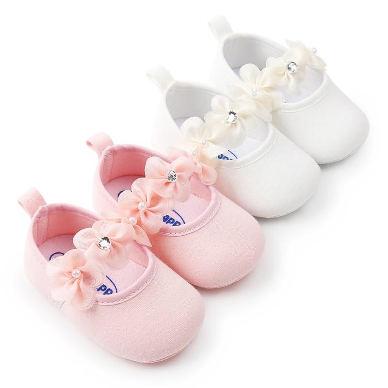 Lovely Floral Baby Newborn Toddler Girl Crib Shoes Pram Soft Sole Prewalker Anti-slip Baby Shoes First Walker 0-18M