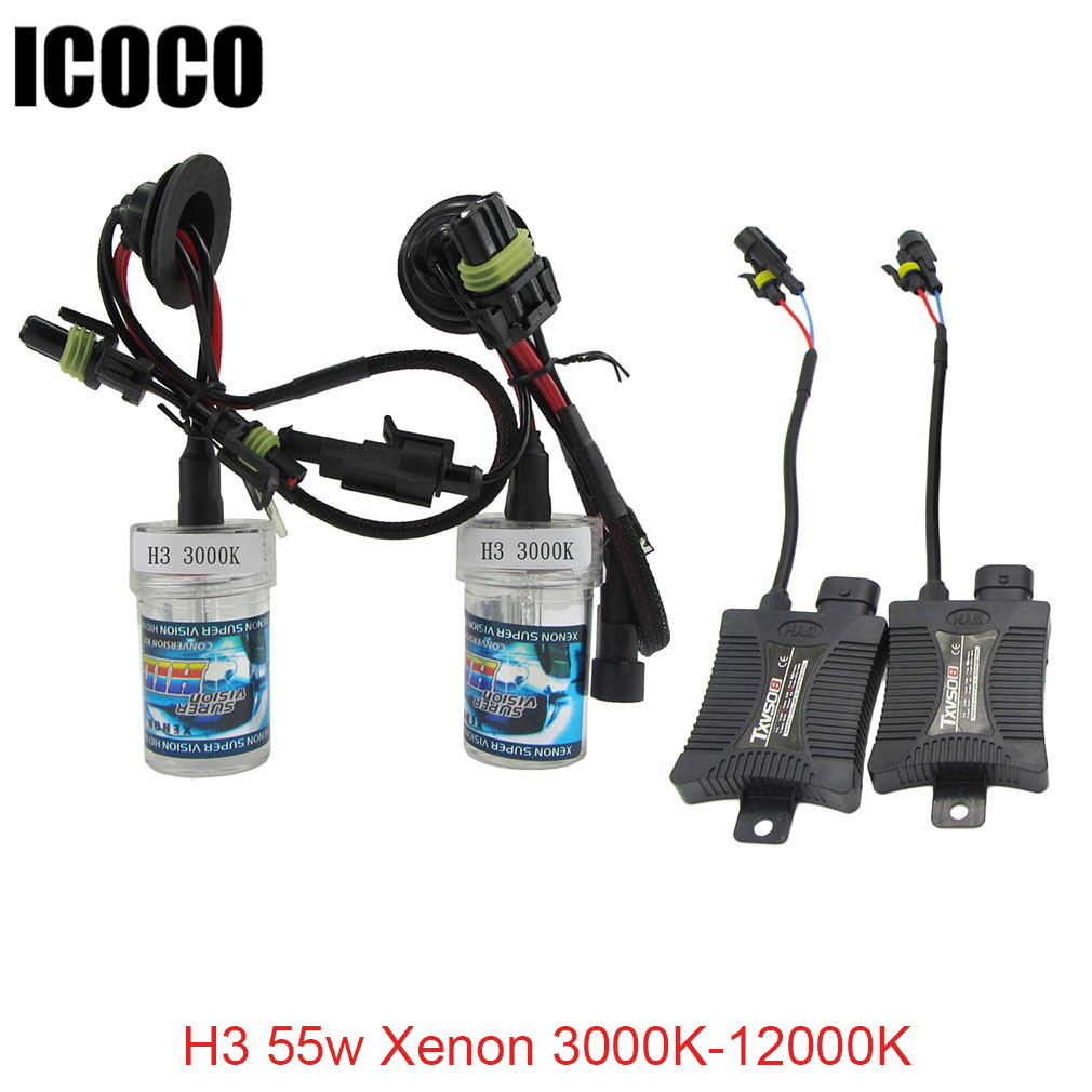 12V DC 12v H3 55w Xenon HID kit 2 x Xenon Car Motorcycle Headlight 3000k 4300k 5000K 6000k 8000k 10000k 12000K Drop Shipping