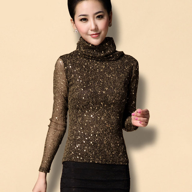 cfab3c4d0b7cf Plus Size M-XXXL Vintage Winter Gold Dot Print High Collar Patchwork Mesh  Knitted Blouse Women Tops Elegant Shirt Female Blusas