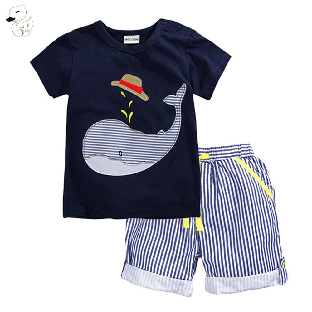 BINIDUCKLING 2017 New Summer Kids Clothes Children Clothing Baby Boy Set Toddler Baby Boys Clothing Set Cotton Striped Shorts aile rabbit summer 2016 new baby boy pattern rabbit toddler plaid kids clothes children clothing set