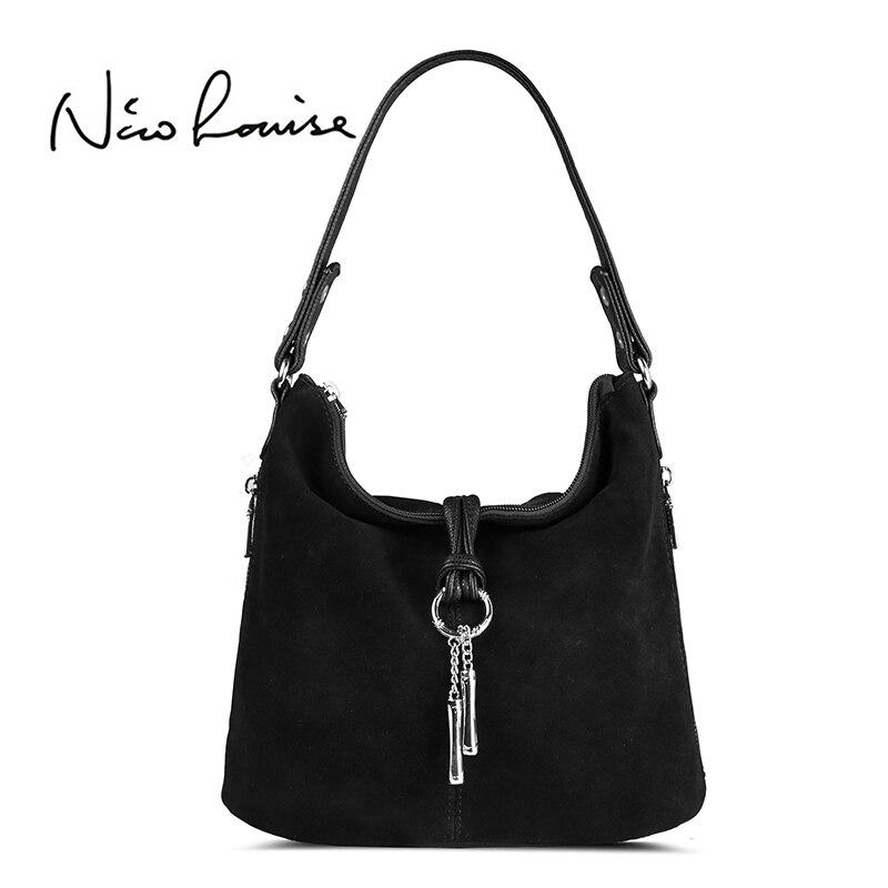 2018 Fashion Women Split Leather Shoulder Bag Female Suede C