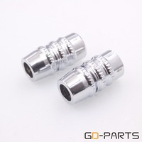 2PCS Chrome Plated Aluminum Alloy Speaker RCA Cable Wire Splitter Y Pant Boot One 13mm To