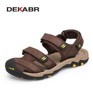 Image 5 - Мужские сандалии из воловьей кожи DEKABR, модная повседневная обувь цвета хаки, нескользящая пляжная обувь с резиновой подошвой, большие размеры 38 47, лето 2019