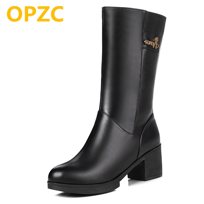 OPZC Female Martin boots 2018 new genuine leather women's winter boots, thick warm wool boots, trend high-heeled boots women 2016women s genuine leather boots high heeled winter boots designer wool lining motorcycle boots thick snowshoe free shipping