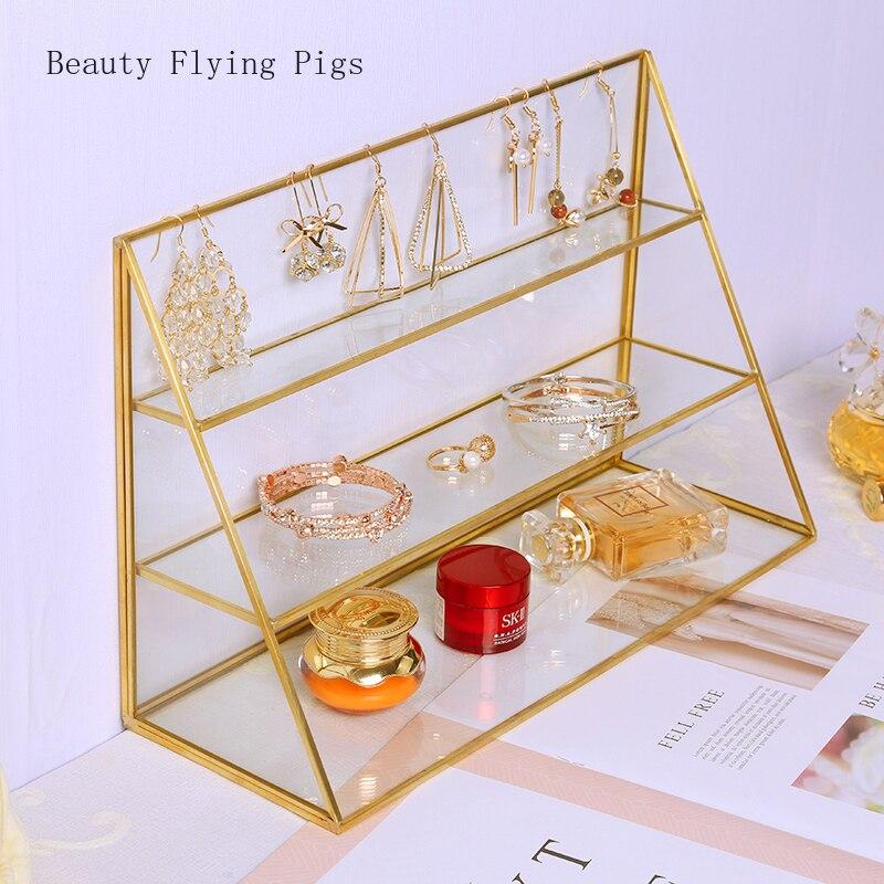 1 Pcs Ins vento rack de carrinho de exposição de Jóias pulseiras de perfume de vidro transparente artesanal artesanal trapezoidal cosméticos de armazenamento