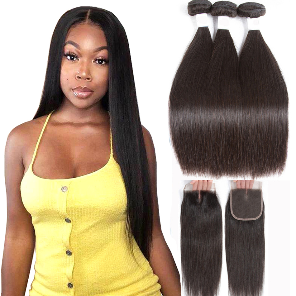 Straight Human Hair 3 Bundles With Closure Tuneful 100% Remy Hair Weft Weave  Extensions Brazilian Hair Bundles With Closure 007c98dd0323