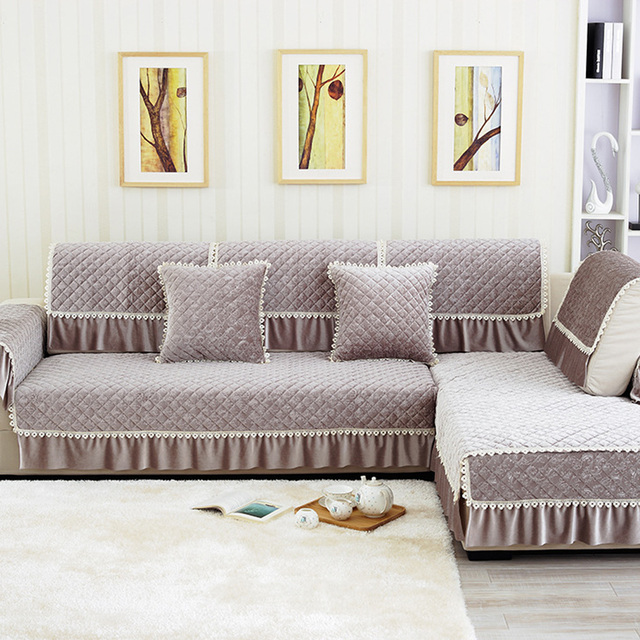 latest design sofa covers softee full size corduroy bed solid cotton fabric cover korean lace vertical slip resistant armrest towel four seasons couch