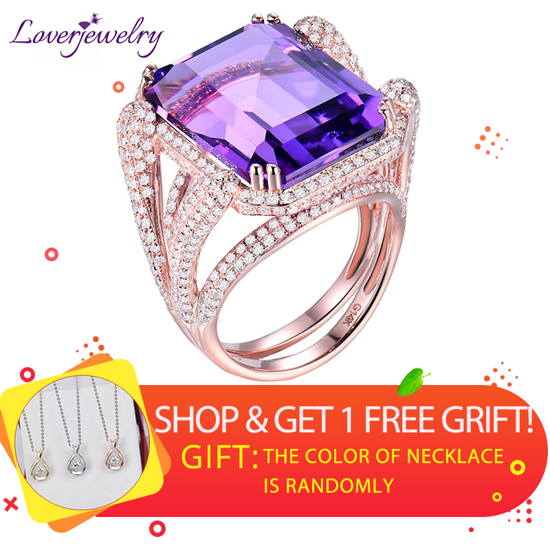 Natural Amethyst Rings For Women Elegant Ladies Emerald Cut 15x20mm Amethyst Diamonds Engagement Party Ring Real