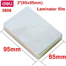 Deli – film de stratification thermique, 3 pouces (65x95mm), 100 feuilles, film de protection photo en PET, 70mic, 1 paquet