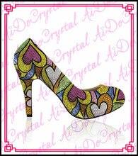 Aidocrystal luxus bling bling kristall covered schuhe frauen high heel pumps