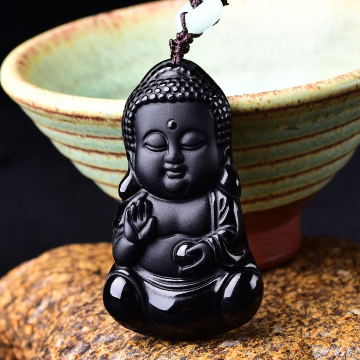 Natural Black Obsidian Carved Chinese Amulet Buddha Lucky Pendant Beads Necklace Fashion Necklaces & Pendants