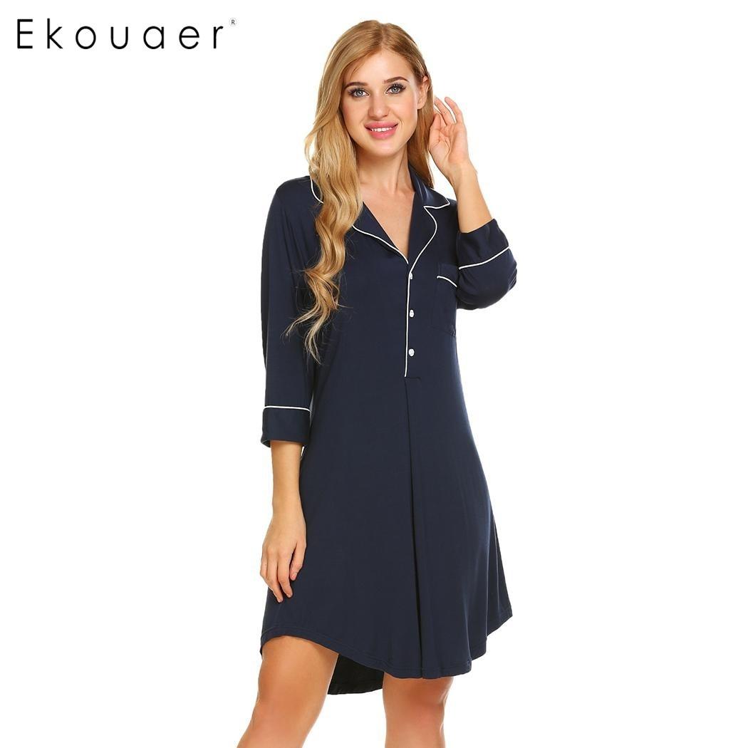 Ekouaer Brand Casual Loose Nightgown Summer Boyfriend Style Sleepwear Womens Button Short Sleeve Solid Nightwear Top