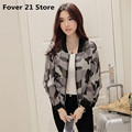 Fover 21 Lowest Price Hot Selling Women Stand Collar Long Sleeve Zipper Light  Camouflage Printed Bomber Jacket free shipping