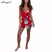 Boho Red Floral Print Playsuits Women Elegant V Neck Jumpsuits Rompers Sexy Beach Girls Short Overalls