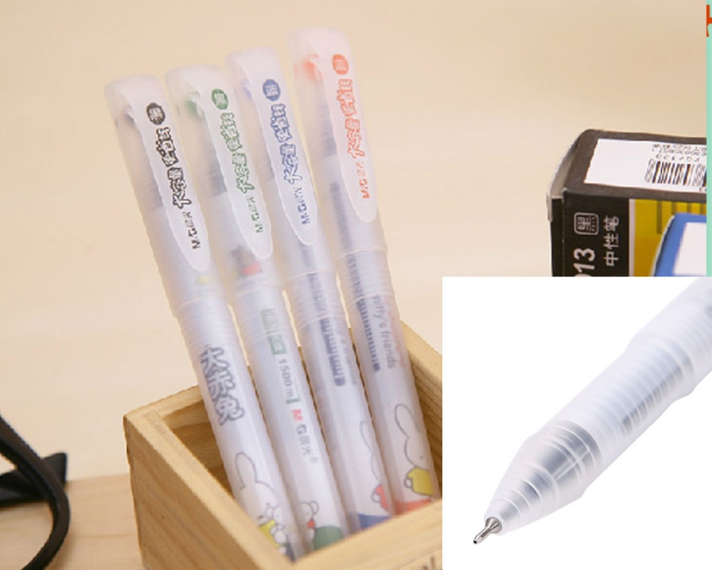 gel ink pen 6pcs/set 0.5mm length 142mm MG2013 Large capacity black or blue ink neutral pen отсутствует м хобби 3 142 2013