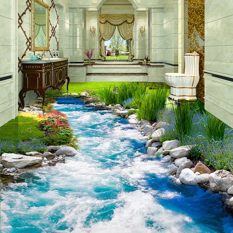 Custom Photo Floor Wallpaper Small Creek Running Water 3D Stereo Floor Sticker Mural PVC Waterproof Self-adhesive Papel De Pared