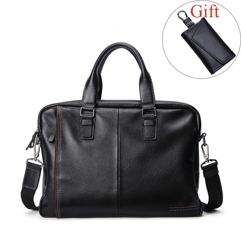 New Fashion Men Bag Genuine Leather Men's Briefcase Large Capacity Business Handbags Male Shoulder Messenger Bags Laptop Bags