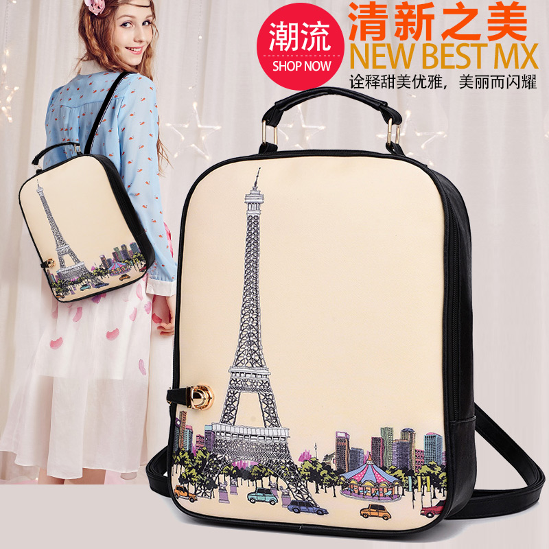 printing backpacks female women bag 2016 new Korean cartoon graffiti girl back bag school bag ladies paris Eiffel tower mochilas