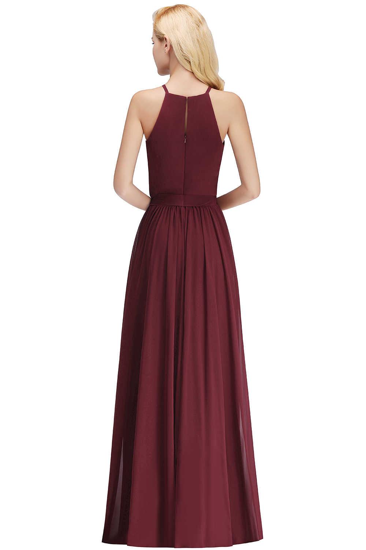 Seksi Tanpa Lengan Panjang Chiffon Bridesmaid Gaun Halter Merah Anggur Pesta Pernikahan Gaun dengan Ikat Pinggang Jubah Demoiselle D'honneur