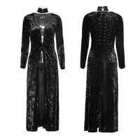 Goth Gothic Retro Casual Women Dress Black Laced Back Velvet Party Long Dresses With Minimalist Band In The Back Y 735