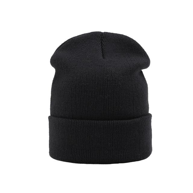 fd1bd759c43 Knitted Skullies Beanies Women Winter Hats Solid Black Beanies For Men  Ladies Hat Female Winter Outdoor