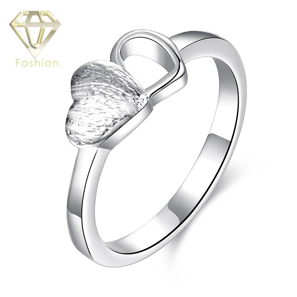 Design Your Own Engagement Ring Romantic Cute Double Hearts Silver Plated  Wedding Rings Fashion Jewelry For Women Wholesale