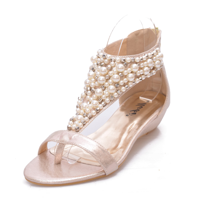 Summer Flat Sandals Wedge Pearl Beading Bohemia Beach Flip Flops Flats Women Shoes Sandles Zapatos Mujer Sandalias Shoes Woman