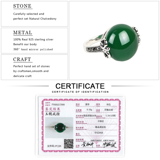 EDI Luxury Gemstone 10ct Natural Green Chalcedony Garnet 925 Sterling Silver Wedding Rings Fine Jewelry Retro Females