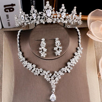 2018 Party Bridal Women Hair Jewelry Set Tiaras Earrings Necklace For Bride Crystal Wedding Crowns Headpieces Headband For Bride