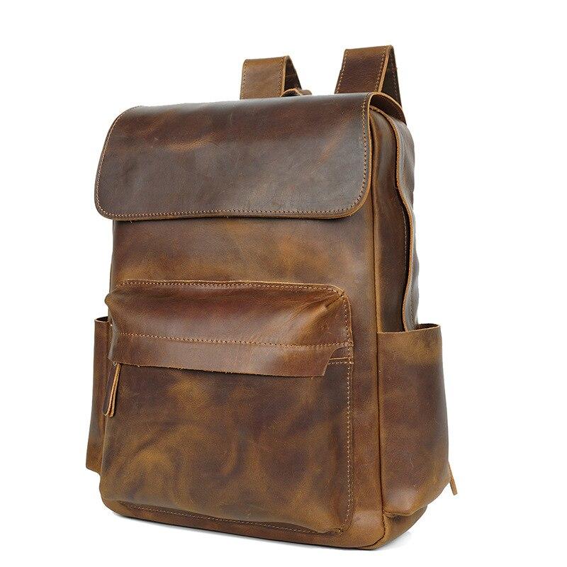 SIMLINE Новый Винтажный повседневный рюкзак из натуральной кожи из воловьей кожи для мужчин s путешествия бизнес сумка на плечо сумки рюкзаки для мужчин подростков - 2
