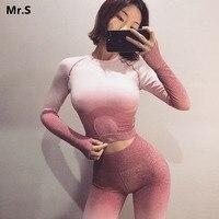 Ombre Seamless 2 Piece Set Women Sport Suit Gym Workout Clothes Long Sleeve Fitness Crop Top And Scrunch Butt Leggings Yoga Set