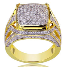 AAA Cubic Zirconia Ice Out Bling Big Wide Hip Hop Rock Rings Gold Color Geometric Men Hiphop Rapper CZ Ring Jewelry Z5C120(China)