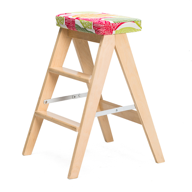 Ladder High Stool Wooden Bench Chair Foldable Step With Fabric Seat Cushion Kitchen Furniture Household