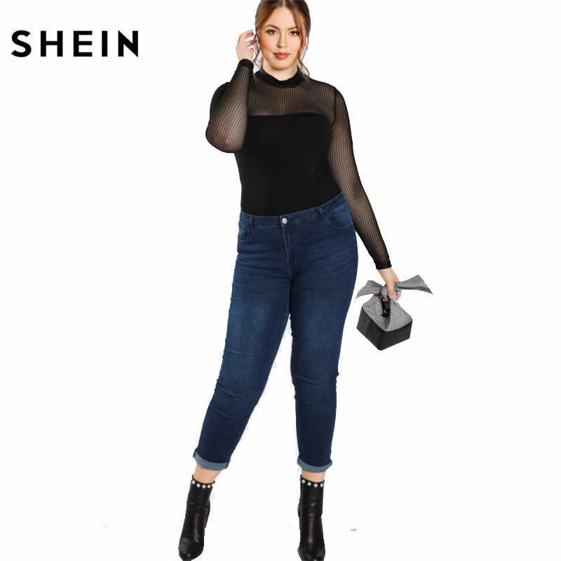 SHEIN черная блузка больших размеров, рубашка для женщин, модная, прозрачная, сексуальная, сетчатая, женская блузка, осенняя, однотонная, Длинная блузка для девочек