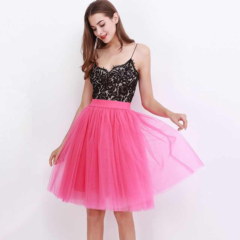 73a779baaa ... Quality 5 Layers Fashion Tulle Skirt Pleated TUTU Skirts Womens Lolita  Petticoat Bridesmaids Midi Skirt Jupe ...