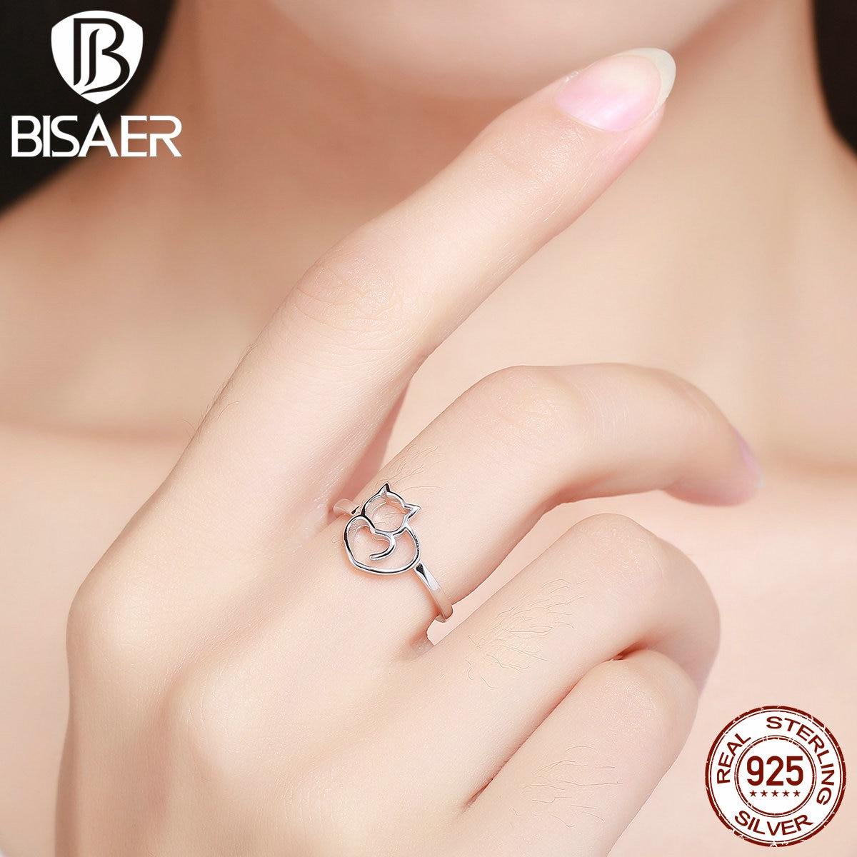 fotos oficiales c90e4 72295 € 4.53 30% de DESCUENTO|Anillos lindos de Plata de Ley 925 BISAER Adorable  forma de corazón de gato anillos de dedo para mujeres anillo geométrico ...