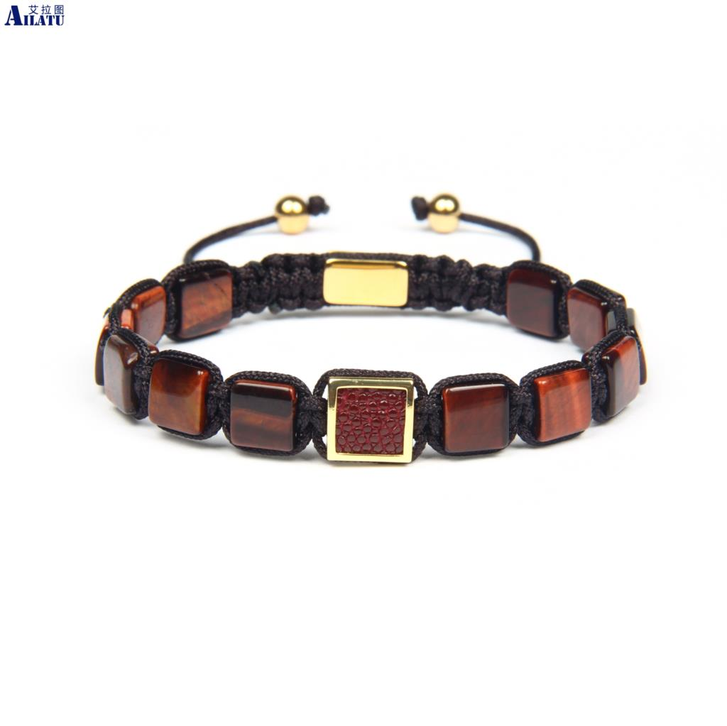 Ailatu New Genuine Python Leather Stingray Macrame Bracelet with 8x8mm Natural Red Tiger Eye Malachite Square