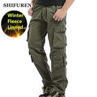 SHIFUREN Kış Polar Erkekler Kargo Pantolon Gevşek Fit Çok cep Erkek Çift Katmanlı Kalınlaşmak Sıcak Askeri Pantolon Artı Boyutu 29-40