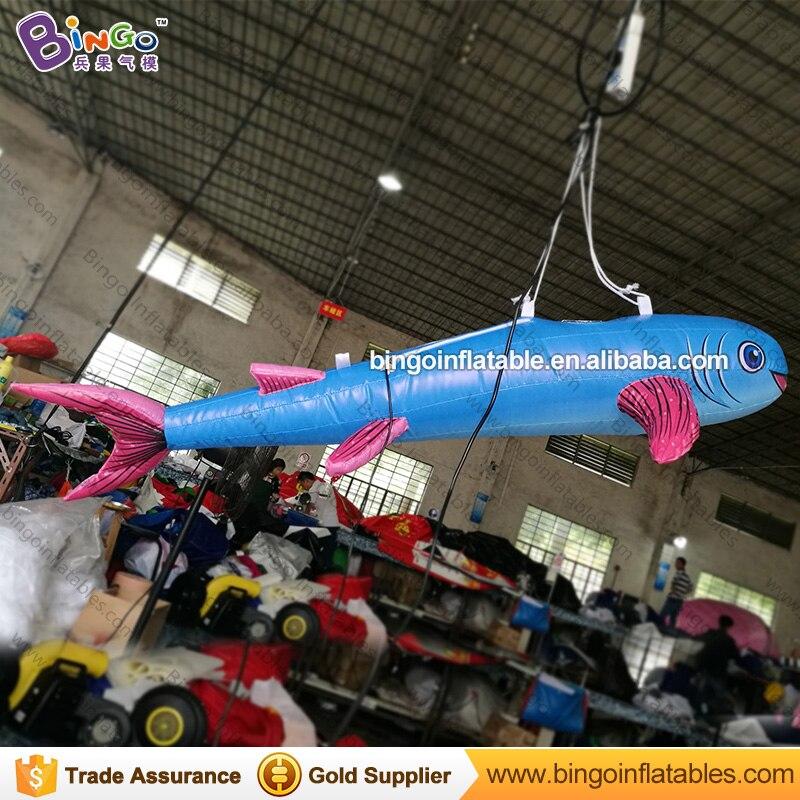 Drôle mignon 1.5 M gonflable poisson bleu ballon jouet mer océan thème parc décoration jouet personnalisé pour accrocher embellir