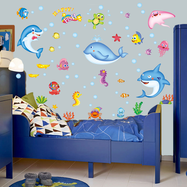 Zs Sticker Fish Wall Stickers Waterproof Home Decor Bathroom Wall Decal For  Kids Room Dolphins Wall