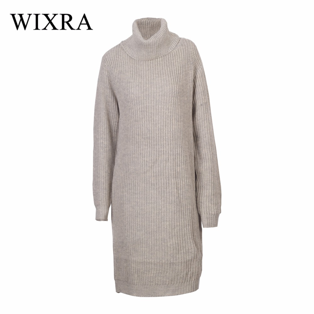 Wixra Warm and Charm New Women Sweater Dresses Autumn Winter Long Sleeve Knitted Thick Loose Casual Dress Black White Vestidos tanworders women thick warm winter hats 2017 autumn new knitted beanies hat button ski caps gorro invierno