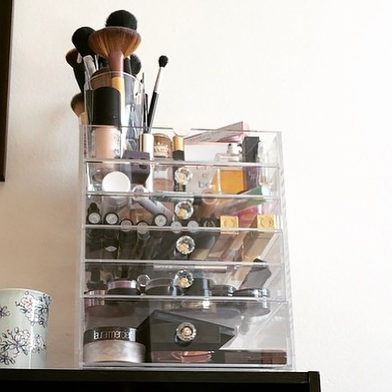 Transparent Acrylic Makeup Organizer Desk Cosmetic Storage Box Multi Layers With Drawer Desktop Storage Clear Make Up Holder