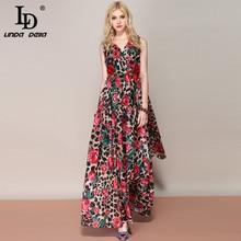 LD LINDA DELLA Fashion Runway Summer Maxi Dress Women's Sexy V Neck Vintage Rose Floral Leopard Printed Holiday Shawl Long Dress lowell lw 05631