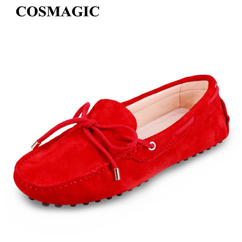 COSMAGIC New Women Flat Driving Loafers Moccasins 2018 Casual Soft Suede Slip on Bowtie Round Toe