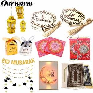 Image 1 - OurWarm EID Mubarak Gift Box Muslim Festival Decor Banner Lights Wooden Pendant Islamic Muslim Prayer Mat Ramadan Kareem Party