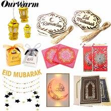 Ourwarm EID Mubarak Tặng Hồi Giáo Lễ Hội Trang Trí Biểu Ngữ Đèn Bằng Gỗ Mặt Dây Chuyền Hồi Giáo Hồi Giáo Cầu Nguyện Thảm Ramadan Kareem Đảng