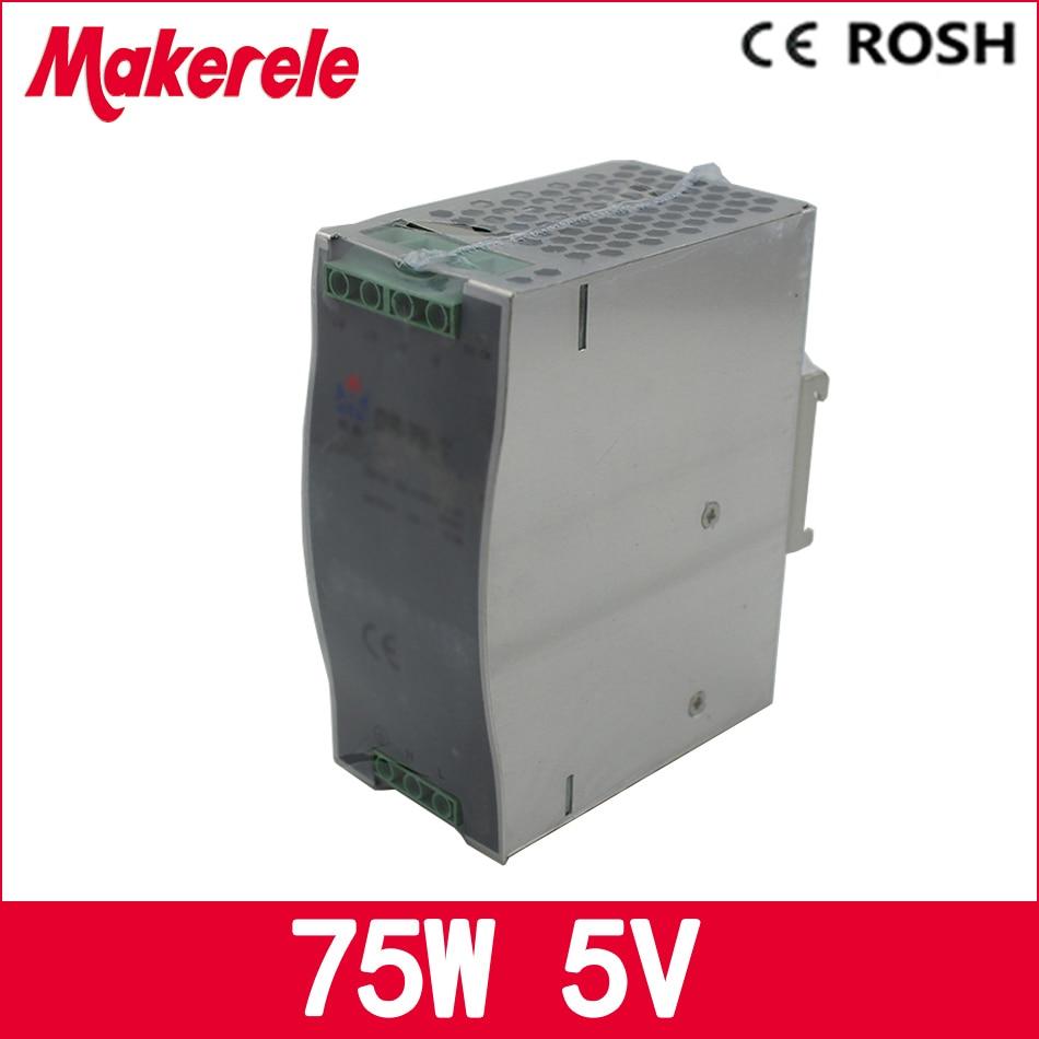 DR-75-5 DC 5V 15A 75w LED Single Output Din Rail Switching Power Supply ac dc power supply ac dc dr 60 5v 60w 5vdc switching power supply din rail for led light free shipping